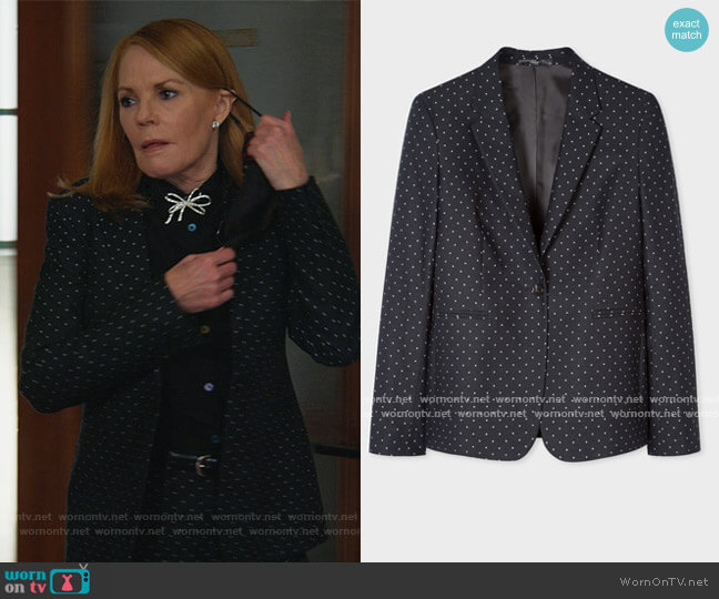Black Polka Dot One-Button Cotton-Stretch Blazer by Paul Smith worn by Lisa Benner (Marg Helgenberger) on All Rise
