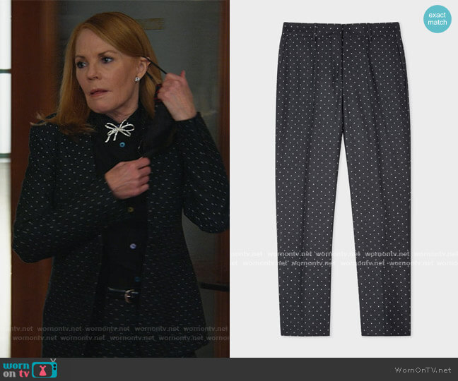 Slim-Fit Black Polka Dot Cotton-Stretch Pants by Paul Smith worn by Lisa Benner (Marg Helgenberger) on All Rise