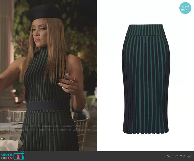 Pleated Two-tone Skirt by Kenzo worn by Dominique Deveraux (Michael Michele) on Dynasty