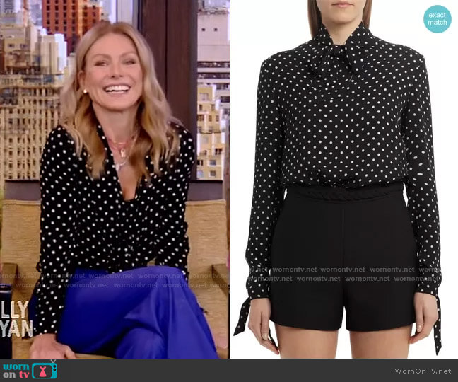 Polka Dot Silk Georgette Blouse by Valentino worn by Kelly Ripa  on Live with Kelly & Ryan