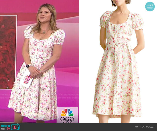 Elizabeth Floral Short-Sleeve Dress by Polo Ralph Lauren worn by Jenna Bush Hager  on Today
