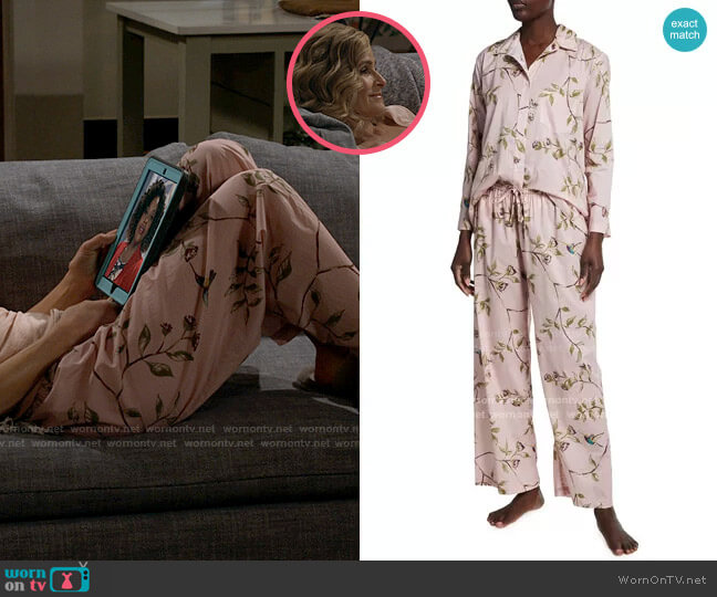 Pour Les Femmes Hummingbird Print Pajamas worn by Jean Raines (Kyra Sedgwick) on Call Your Mother
