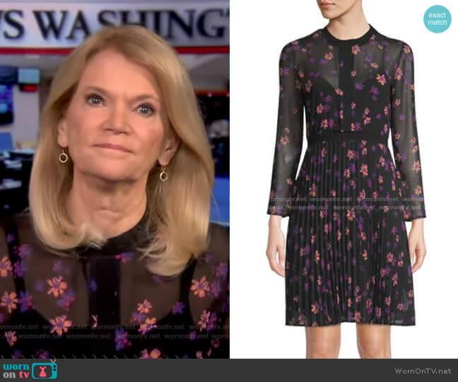 Printed Pleated Dress by Maje worn by Martha Raddatz on GMA