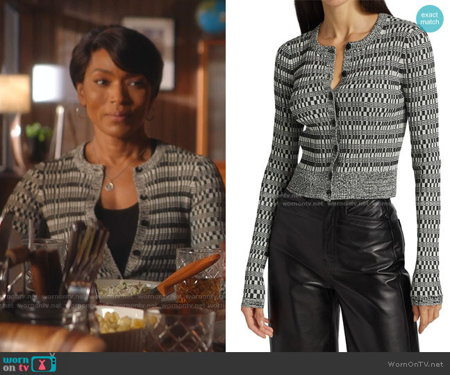 Mini Geo Ribbed Cropped Cardigan by Proenza Schouler White Label worn by Athena Grant (Angela Bassett) on 9-1-1
