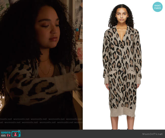 Long Leopard Cardigan by R13 worn by Kat Edison (Aisha Dee) on The Bold Type
