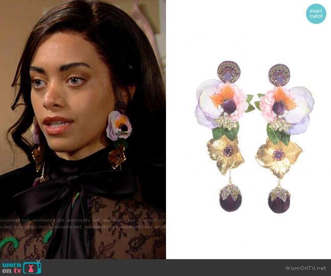 Ranjana Khan Divine Floral gold tone drop earrings worn by Zoe (Kiara Barnes) on The Bold & the Beautiful