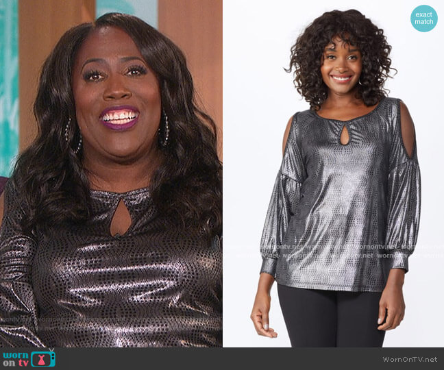 Cold Shoulder Metallic Knit Top by Roz and Ali worn by Sheryl Underwood  on The Talk
