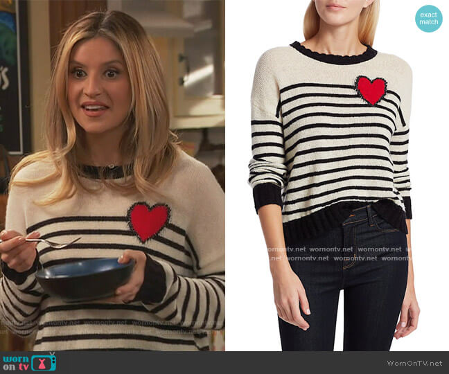 Perci Heart Sweater by Rails worn by Chelsea Grayson (Anneliese van der Pol) on Ravens Home