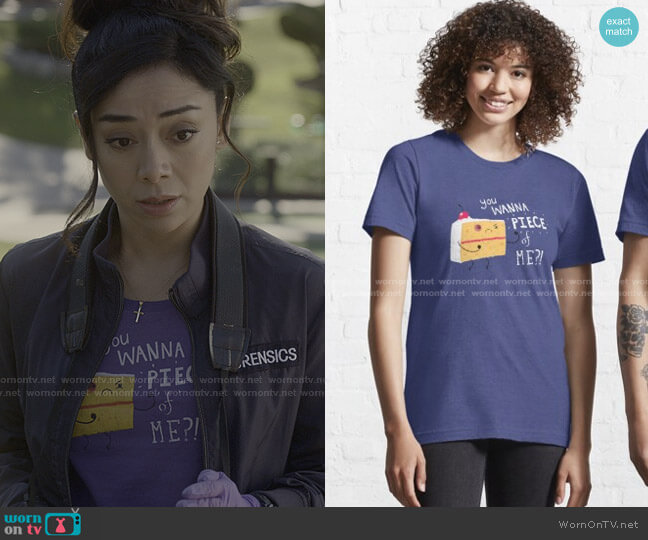 Angry Cake Classic T-Shirt by DinoMike at RedBubble worn by Ella Lopez (Aimee Garcia) on Lucifer