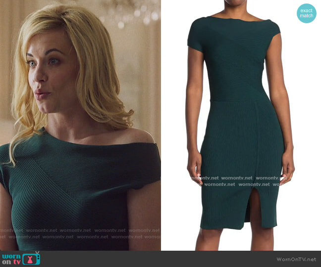 Lavinia Asymmetrical Ribbed Knit Dress by Reiss worn by Kelly Anne Van Awken (Molly Burnett) on Queen of the South