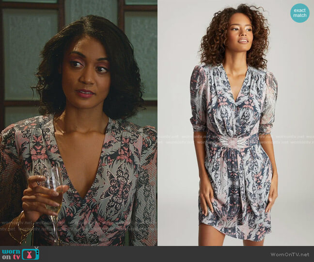 Lacey Printed Dress by Reiss worn by Mercedes Morris on Good Witch