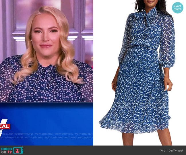 Mini-Print Bow-Neck A-Line Dress by Rickie Freeman for Teri Jon worn by Meghan McCain  on The View