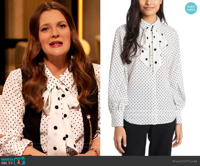 Camille Bow Neck Blouse by Riley & Rae worn by Drew Barrymore  on The Drew Barrymore Show