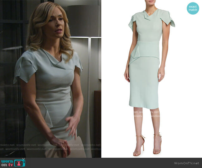 Vernon Asymmetric Wool Crepe Sheath Dress by Roland Mouret worn by Amy Quinn (Lindsey Gort) on All Rise