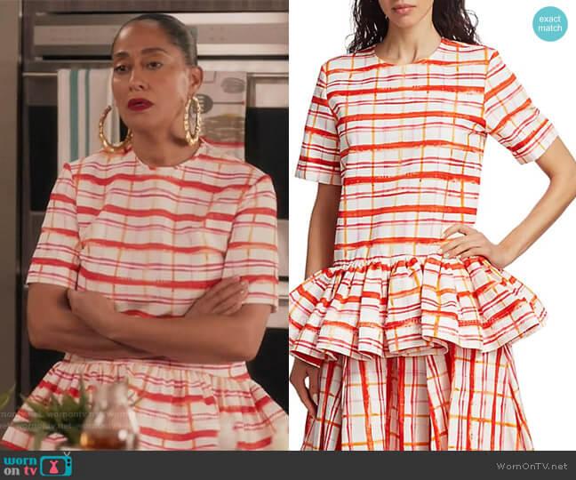 Drop Waist Peplum T-Shirt by Rosie Assoulin worn by Rainbow Johnson (Tracee Ellis Ross) on Blackish