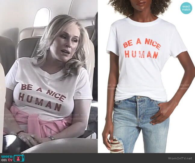 Be A Nice Human Tee by SUB_URBAN RIOT worn by Kathy Hilton  on The Real Housewives of Beverly Hills