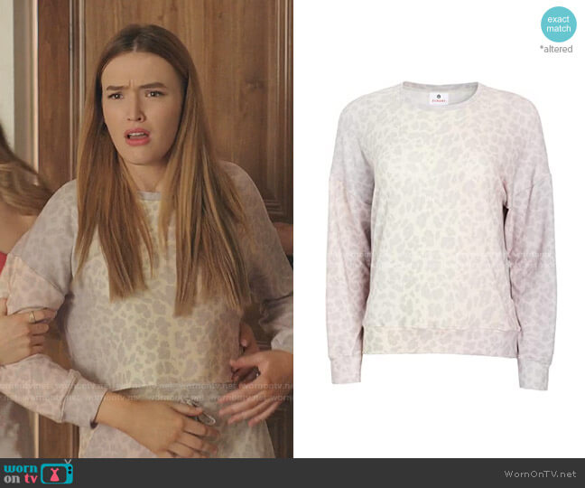 Leopard Cozy Sweatshirt by Sundry worn by Kirby Anders (Maddison Brown) on Dynasty