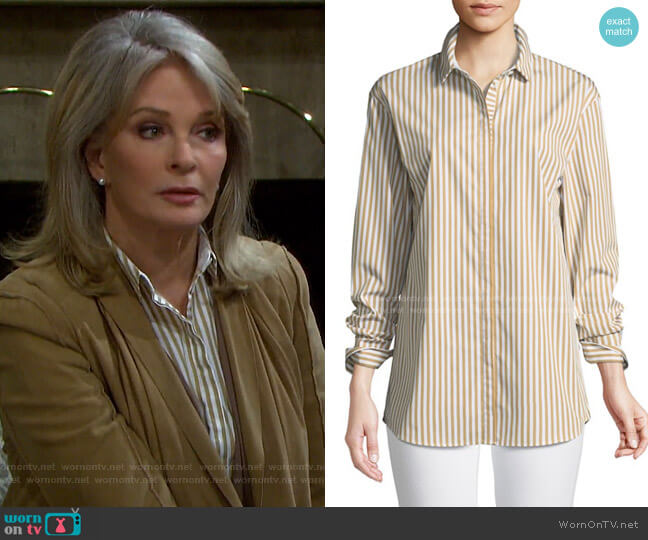 Sabira Saxony Striped Blouse by Lafayette 148 New York worn by Marlena Evans (Deidre Hall) on Days of our Lives
