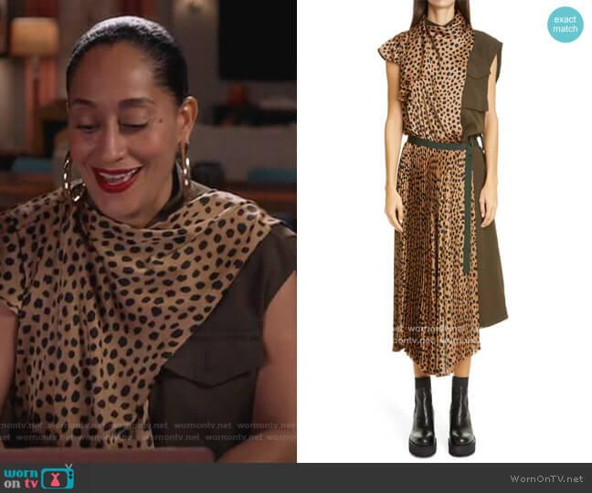 Cheetah Print Mixed Media Pleated Dress by Sacai worn by Rainbow Johnson (Tracee Ellis Ross) on Blackish