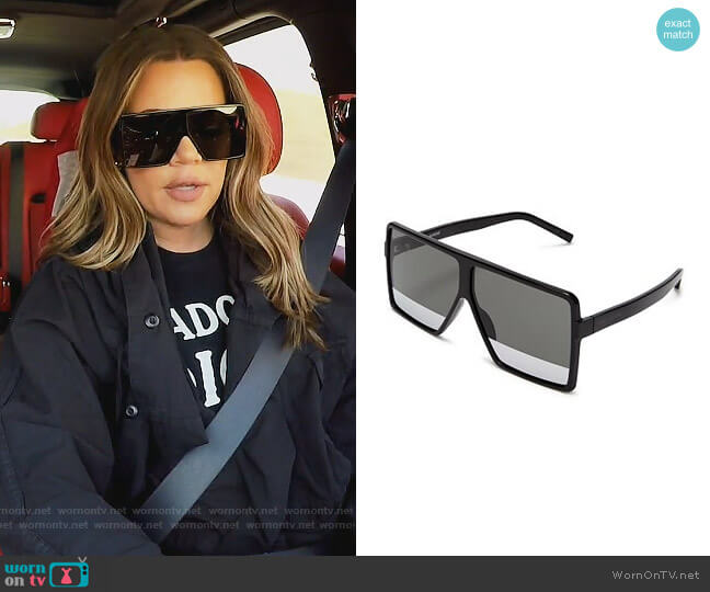 183 Betty Square Shield Sunglasses by Saint Laurent worn by Khloe Kardashian  on Keeping Up with the Kardashians