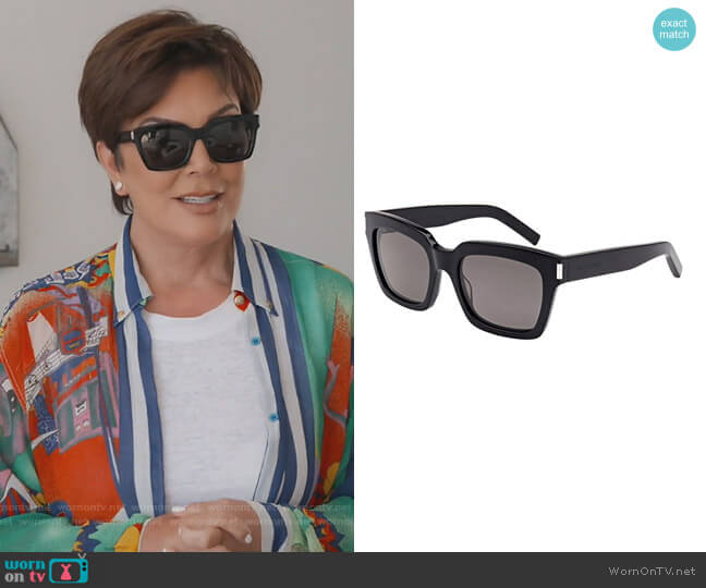 Black Smoke Bold Sunglasses by Saint Laurent worn by Kris Jenner  on Keeping Up with the Kardashians