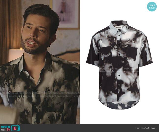 Short-Sleeved Tie-Dye Silk Shirt by Saint Laurent worn by Sam Flores (Rafael de la Fuente) on Dynasty