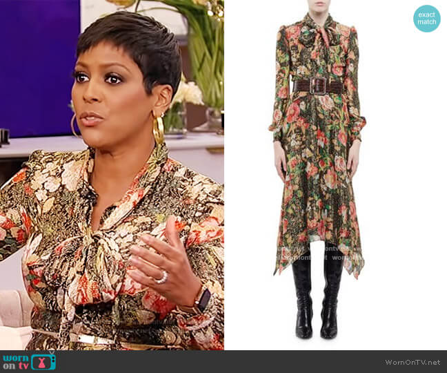 Floral Print Tie Neck Dress by Saint Laurent worn by Tamron Hall  on Tamron Hall Show