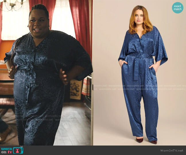 Floral Satin Kimono Belted Jumpsuit by Lapointe worn by Mo (Alex Newell) on Zoeys Extraordinary Playlist
