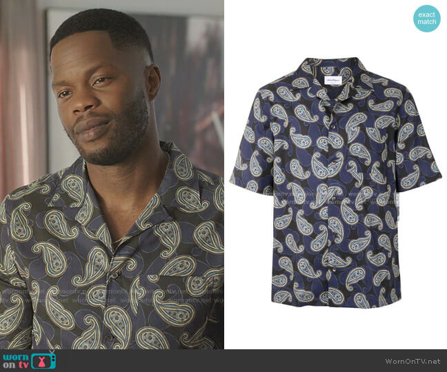 Paisley Print Cotton Shirt by Salvatore Ferragamo worn by Jeff Colby (Sam Adegoke) on Dynasty