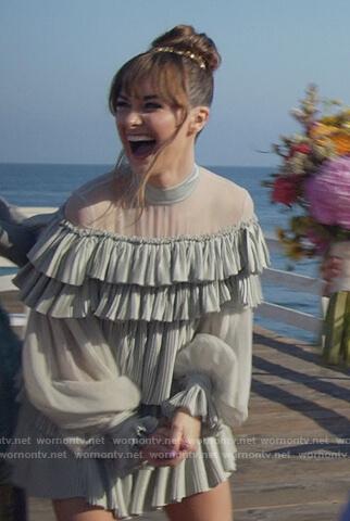 Sam's teal ruffle mesh mini dress on All Rise