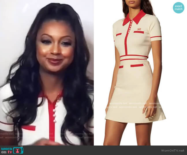 Tipped Short Sleeve Fit & Flare Knit Dress by Sandro worn by Ebony K. Williams on The Real