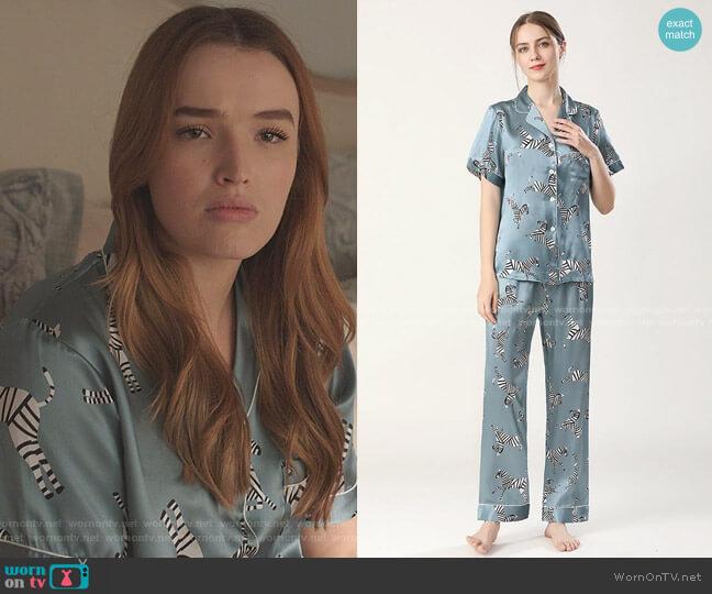 Silk Pajama Set Short Sleeve Zebra Silk Pjs by Slipintosoft worn by Kirby Anders (Maddison Brown) on Dynasty