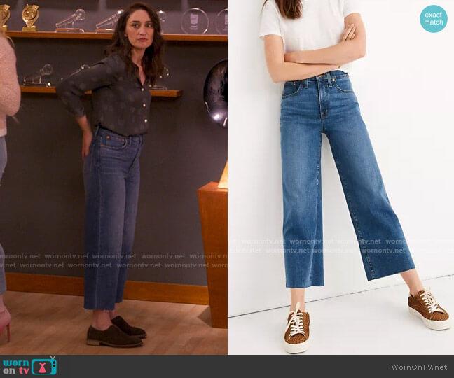 Madewell Slim Wide-Leg Jeans in Crownridge Wash: Raw-Hem Edition worn by Dawn Solano (Sara Bareilles) on Girls5eva