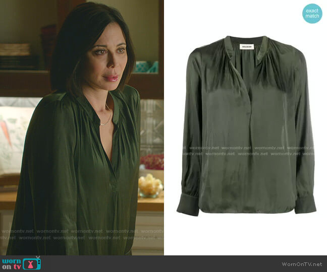Slit-Neck Satin Blouse by Zadig & Voltaire worn by Cassandra Nightingale (Catherine Bell) on Good Witch
