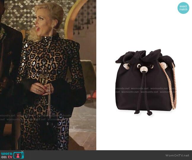 Emmie Satin Drawstring Shoulder Bag by Sophia Webster  worn by Alexis Carrington (Elaine Hendrix) on Dynasty