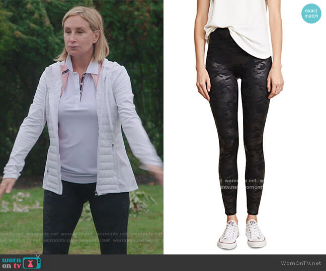 Faux Leather Camo Legging by Spanx worn by Sonja Morgan  on The Real Housewives of New York City