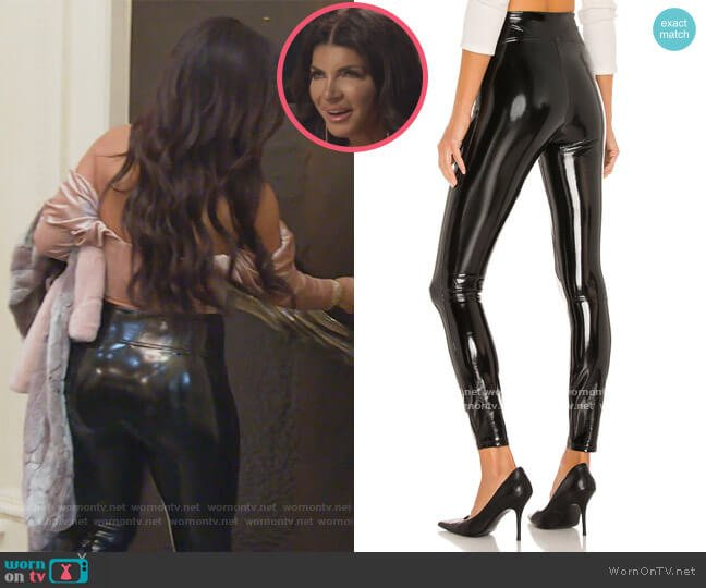 Faux Patent Leather Leggings by Spanx worn by Teresa Giudice  on The Real Housewives of New Jersey