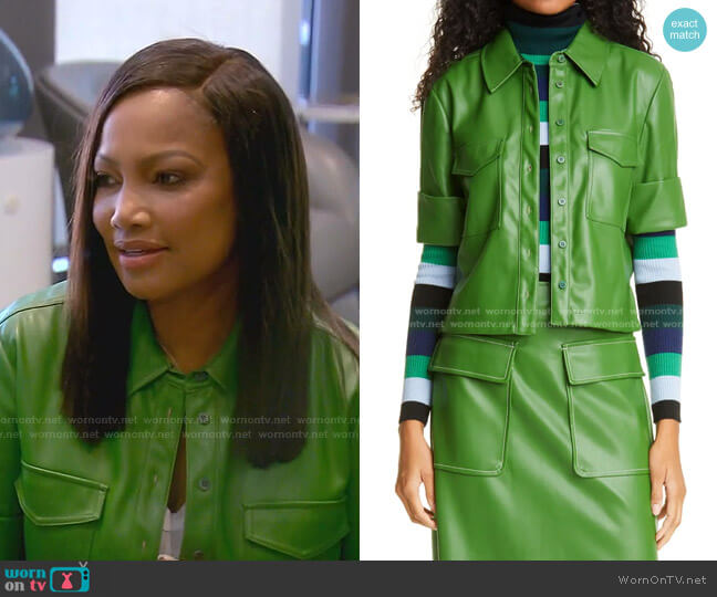 Rue Faux Leather Top by Staud worn by Garcelle Beauvais  on The Real Housewives of Beverly Hills