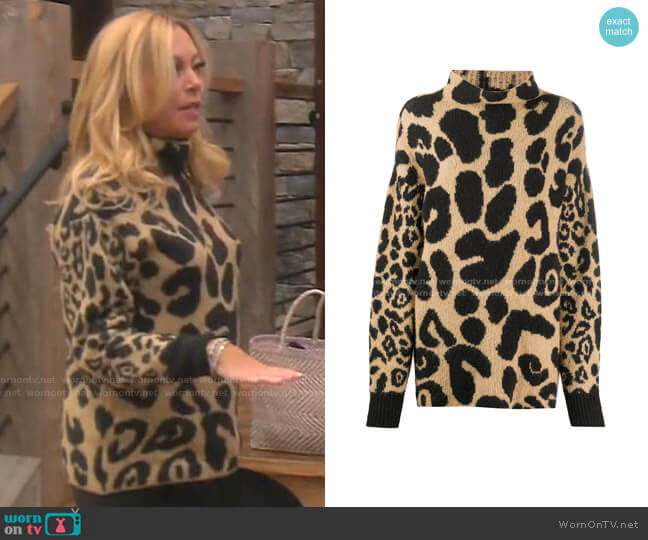 Leopard-Print Jumper by Stella McCartney worn by Sutton Stracke  on The Real Housewives of Beverly Hills