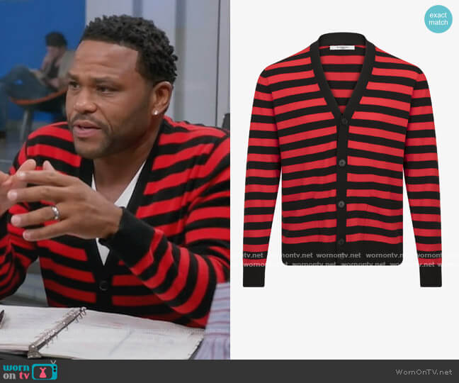 Stripe Wool Cardigan by Givenchy worn by Andre Johnson (Anthony Anderson) on Blackish