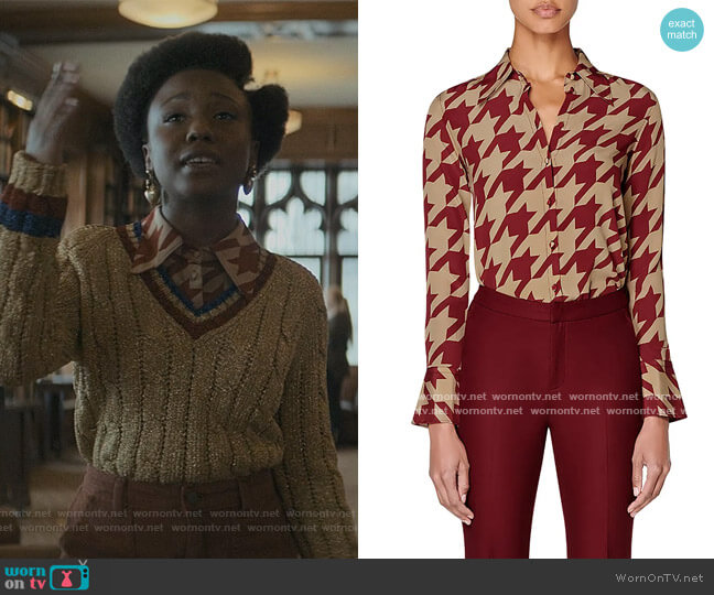 Alec Houndstooth Silk Blouse by Suistudio worn by Judae'a Brown on The Chi