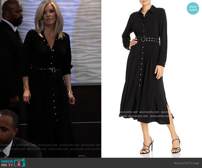 Belted Midi Shirt Dress by T Tahari worn by Carly Corinthos (Laura Wright) on General Hospital