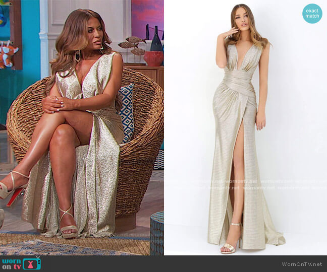Plunging V-neck Ruched Dress by Tarik Ediz worn by Dolores Catania  on The Real Housewives of New Jersey