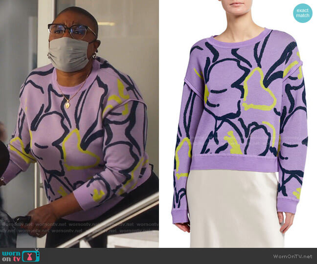 Eileen Squiggle Intarsia Knit Sweater by Tanya Taylor worn by Henrietta Wilson (Aisha Hinds) on 9-1-1