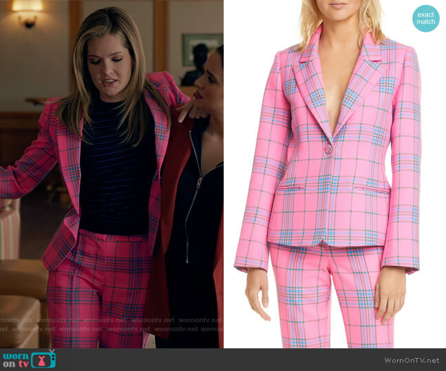 Waverly Pink Plaid Blazer and Pants by Tanya Taylor worn by Sutton (Meghann Fahy) on The Bold Type