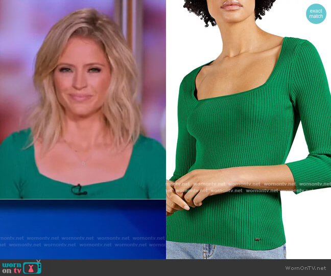 Square Neck Ribbed Top by Ted Baker worn by Sara Haines  on The View