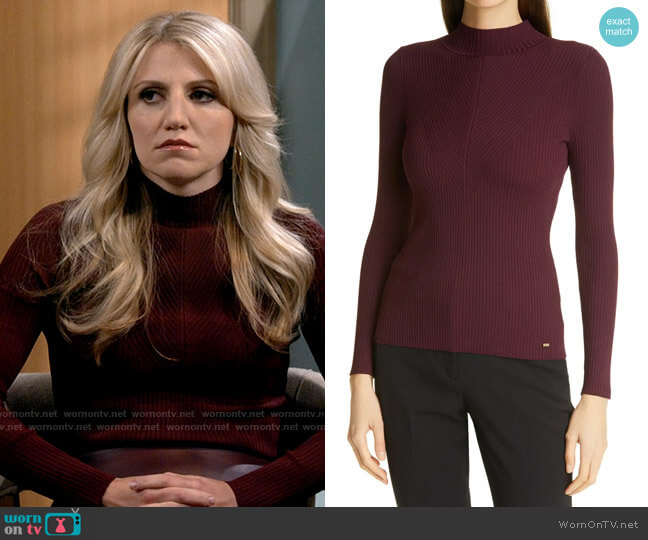 Ted Baker Taralyn Mock Neck Sweater in Oxblood worn by Gina Dabrowski (Annaleigh Ashford) on B Positive