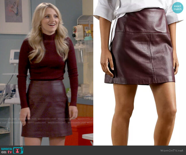 Ted Baker Valiat Leather Mini Skirt worn by Gina Dabrowski (Annaleigh Ashford) on B Positive