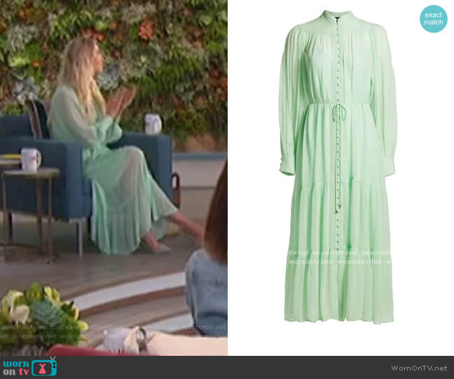 Long-Sleeve Semi-Sheer Tiered Maxi Dress by The Kooples worn by Amanda Kloots  on The Talk