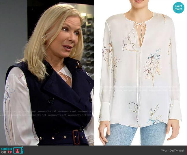 Theory Nature Silk Chiffon Tunic  worn by Brooke Logan (Katherine Kelly Lang) on The Bold & the Beautiful